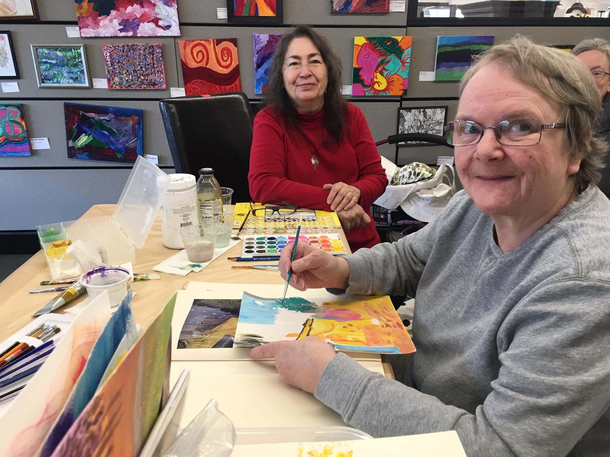 Art Instructor, Elizabeth Black with artist Linda Bach
