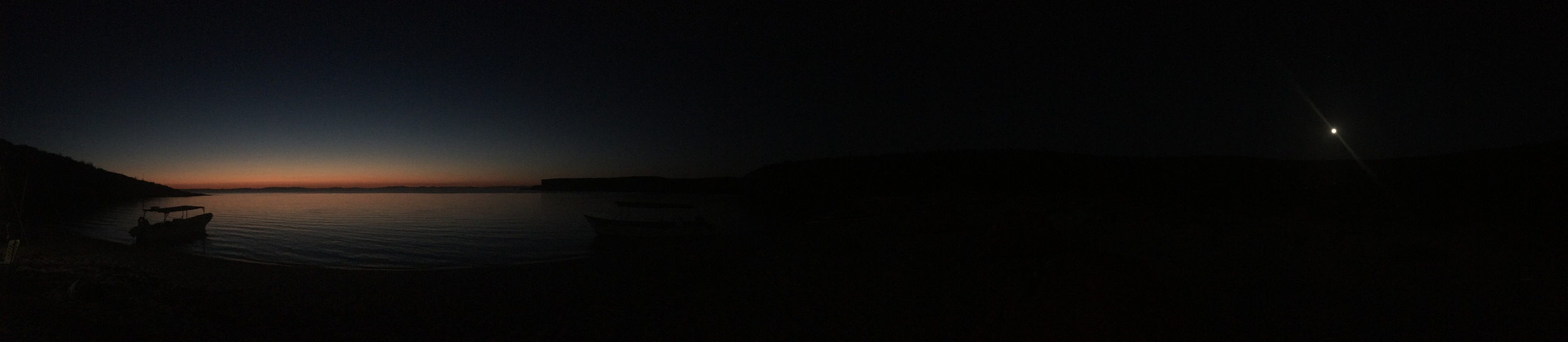 sunset and moon rise