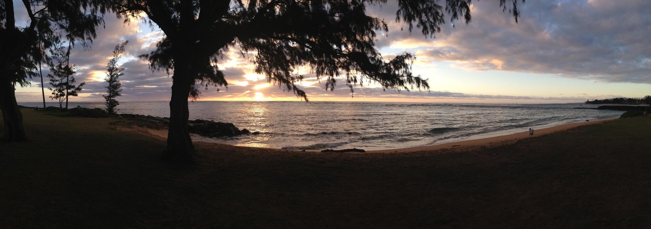 Sunrise at the Kauai Tai Chi Class Location - On The Beach in Kapa'a - Wuji Meditation Practice begins just after sunrise