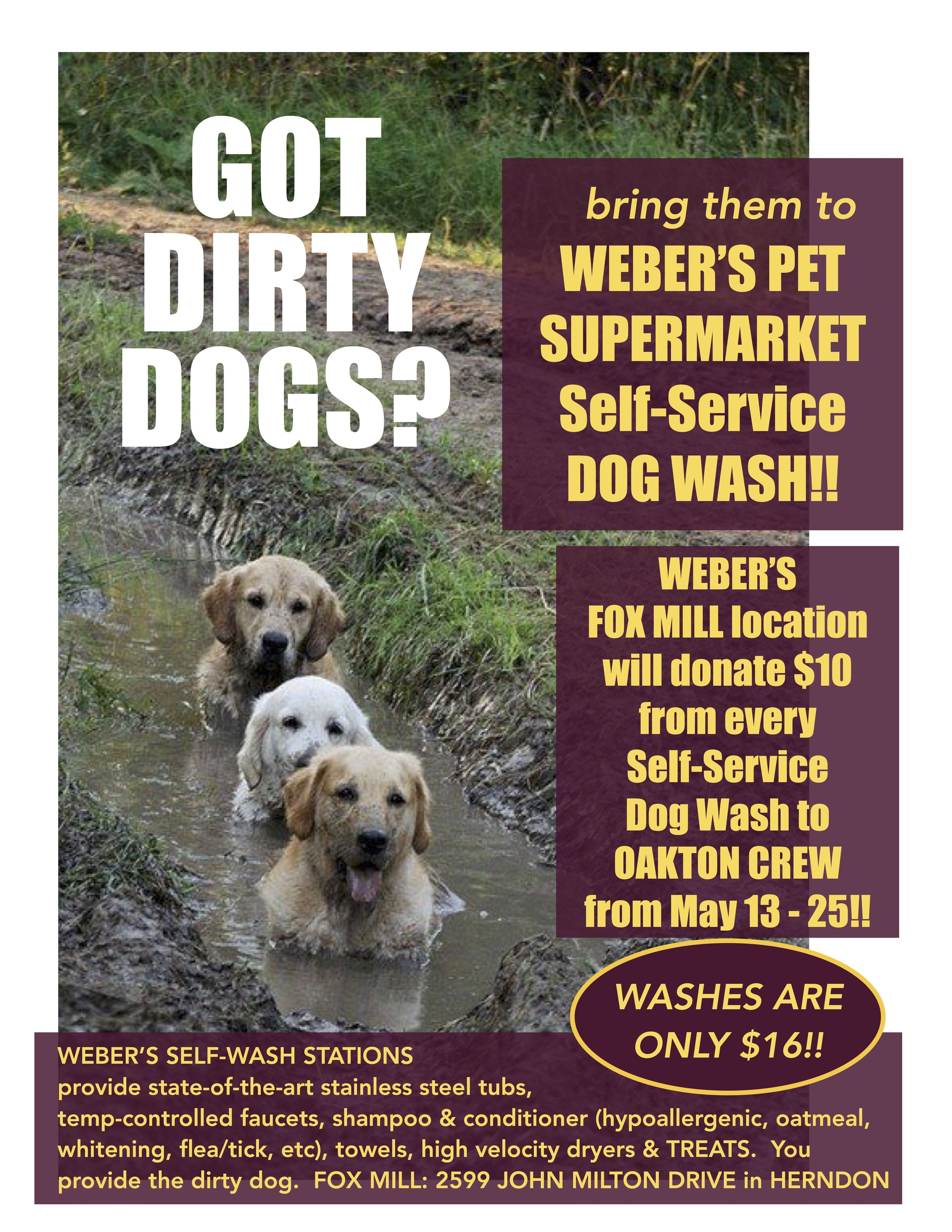 DON'T FORGET OUR DOG-WASH FUNDRAISER runs until May 25th!