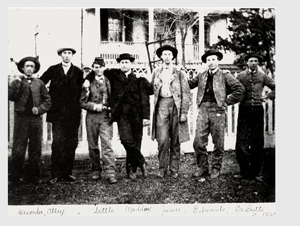 Rangers Alexander, Otley, Settle, Maddox, James, Edmonds, DeButts. Circa 1865.