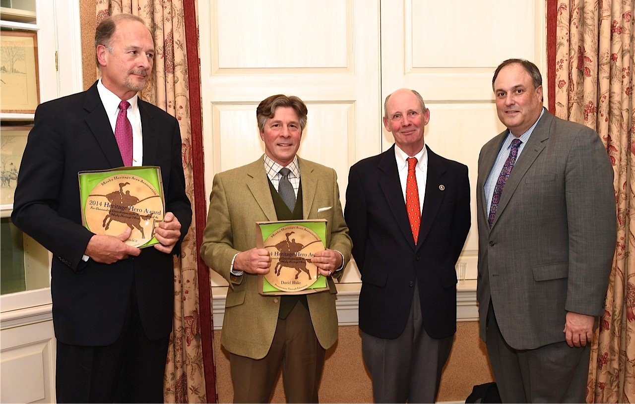 From left, Heritage Heroes Scott Kasprowicz and David Blake with MHAA President Childs Burden and Piedmont Environmental Council Executive Director Chris Miller