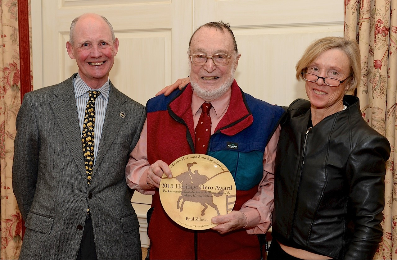 Heritage Hero Paul Ziluca, center, with Mosby Heritage Area Association President Childs Burden and Chairman Wendy Bebie.
