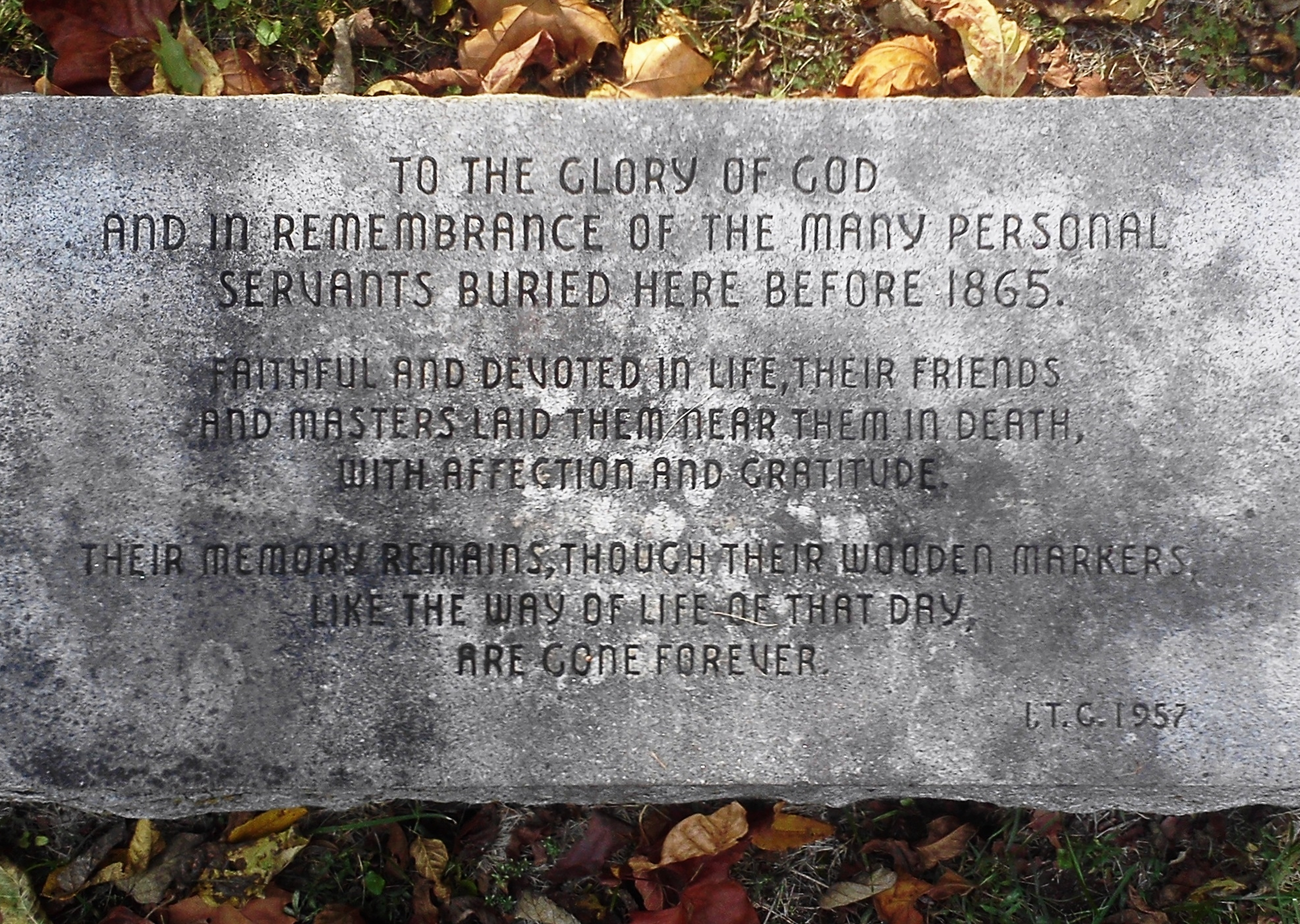 """In the cemetery at the Old Chapel near Millwood is this marker to """"the many personal servants buried here before 1865."""""""