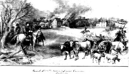 Union Cavalry attempting to flush out Mosby's Rangers during the Burning Raid