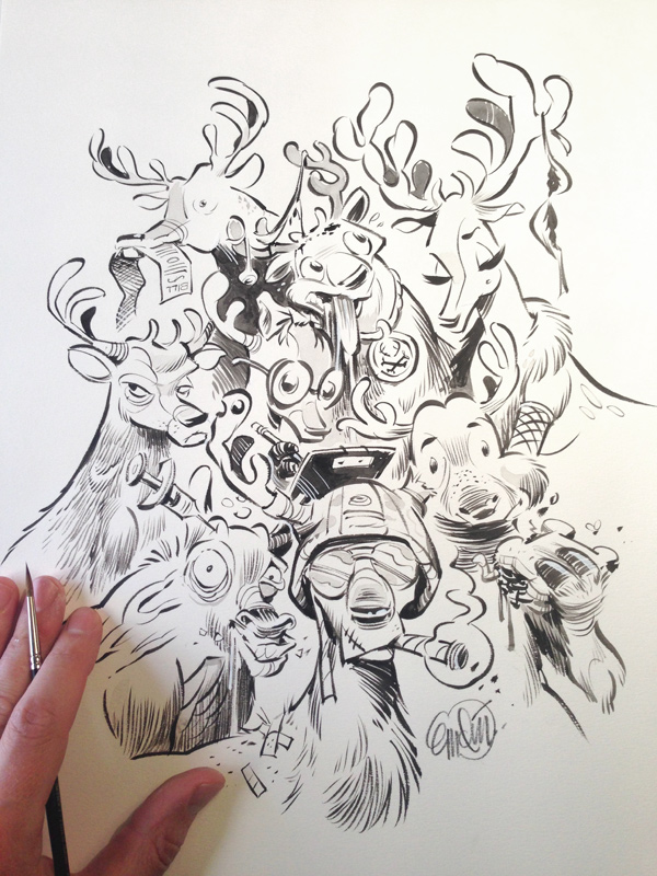 Santa's Reindeers -- drawn by Anton Emdin.   © E.C. Publications 2014.  All Rights Reserved.