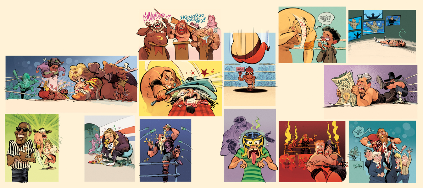 Wrestlemania -- drawn by Anton Emdin.   © E.C. Publications 2014.  All Rights Reserved.