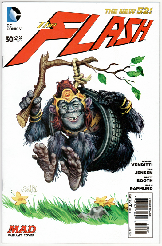 MAD Flash Grodd variant cover -- drawn by Anton Emdin.   © E.C. Publications 2014.  All Rights Reserved.