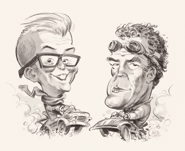 'Car Wars' Illustration (sketch) for Business Reporter / Lyonsdown: Jeremy Clarkson and Chris Evans go head to head -- drawn by and © Copyright Anton Emdin 2015.  All Rights Reserved.  Please do not reproduce without express written permission.