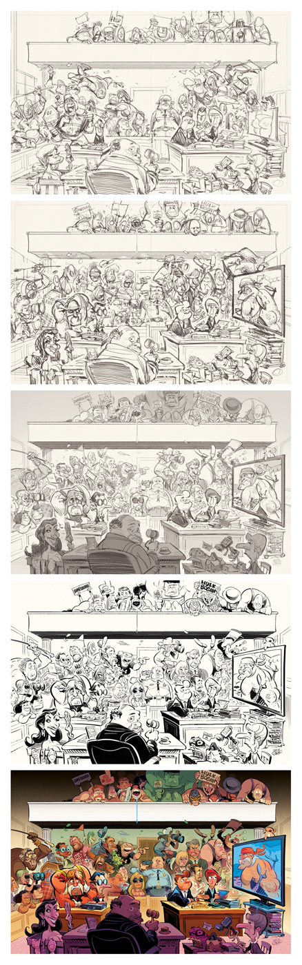 PROCESS: Courtroom Reactions to the Hulk Hogan Sex Tape -- for MAD Magazine / E.C. Publications -- illustration by Anton Emdin