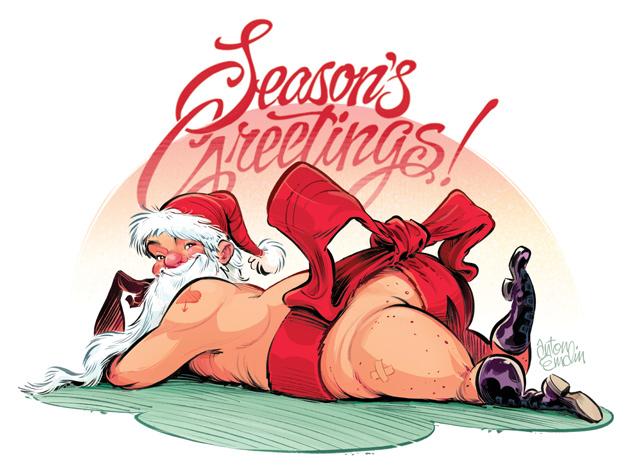 Naughty Santa card / Illustration © Anton Emdin 2011.  All rights reserved.