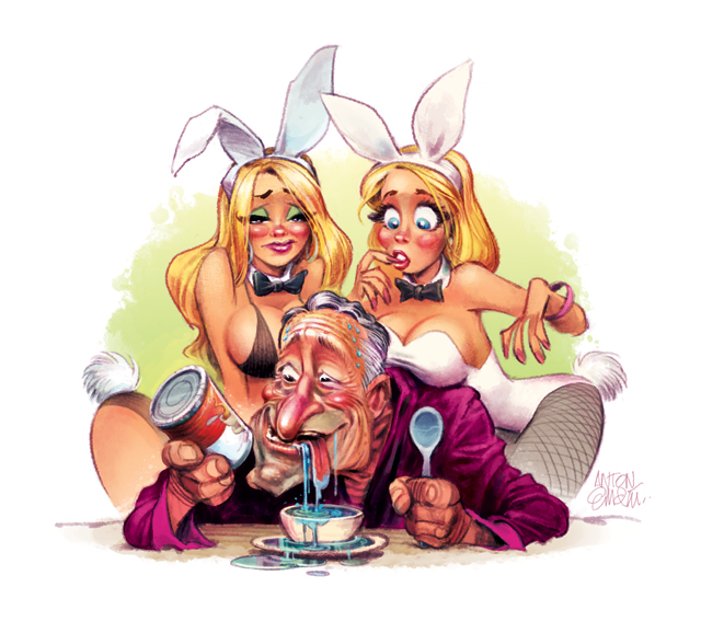 Hugh Hefner for MAD Magazine / drawn by Anton Emdin.  Illustration by and © Copyright E.C. Publications 2015.  All Rights Reserved.  Please do not reproduce without express written permission.