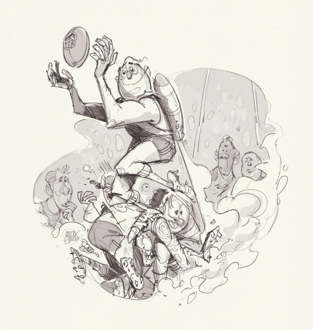 NRL Footy Illustration (sketch) by Anton Emdin / Aussie Rules player using a jetpack to make a mark  / Illustration © Anton Emdin 2016.  All rights reserved.