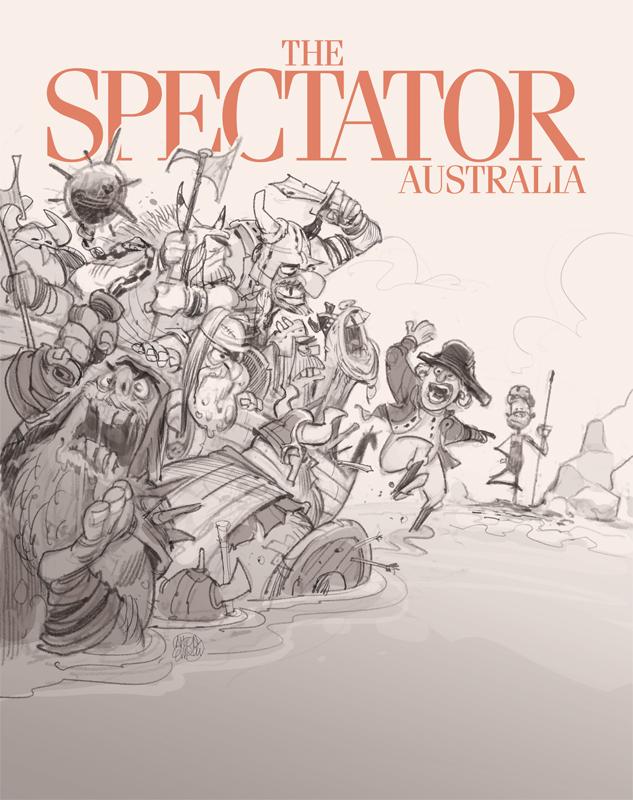 Invasion! ( Sketch).  Cover art for The Spectator -- Illustration © Anton Emdin 2016.  All rights reserved.
