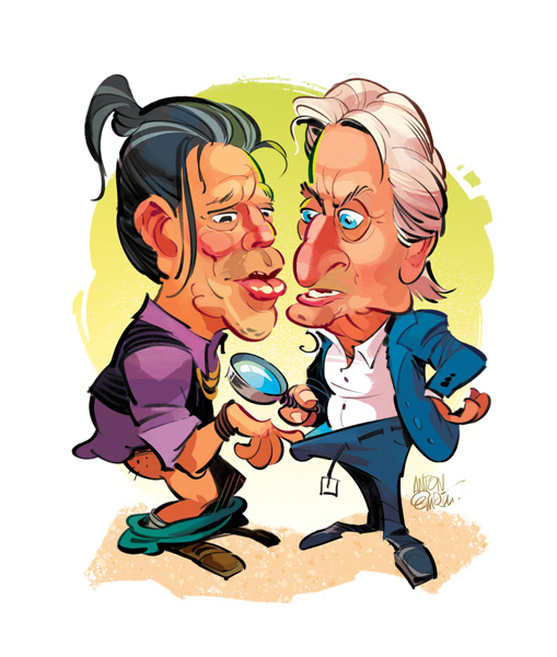 Mickey Rourke Vs. Michael Douglas for GQ / Illustration © Anton Emdin 2016.  All rights reserved.
