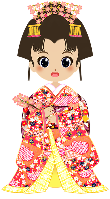 Cartoon Girl Wearing Kimono