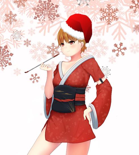 Girl in Kimono and Santa Hat.png