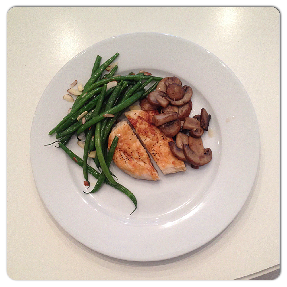 Chicken with mushrooms & green beans