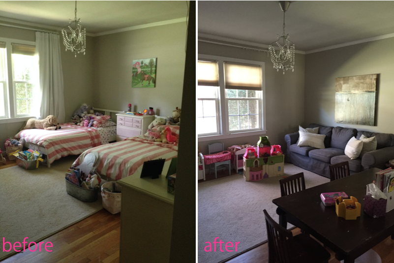 girls bedroom turned playroom