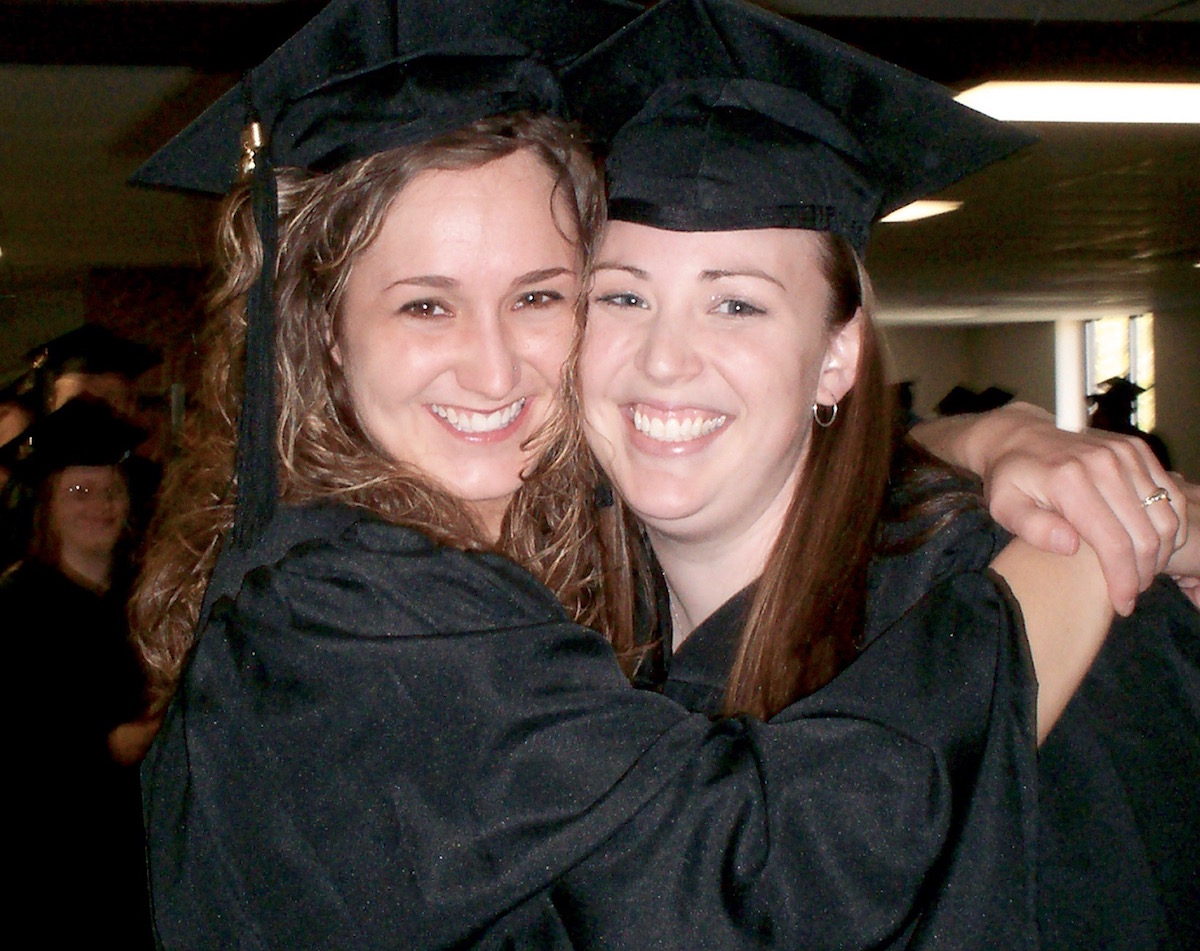 Alumni Allison Cox Milligan and Julianna blankenship at graduation in 2006.