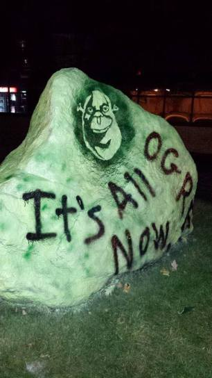 The back of the Rock tagged with Shrek's famous phrase.