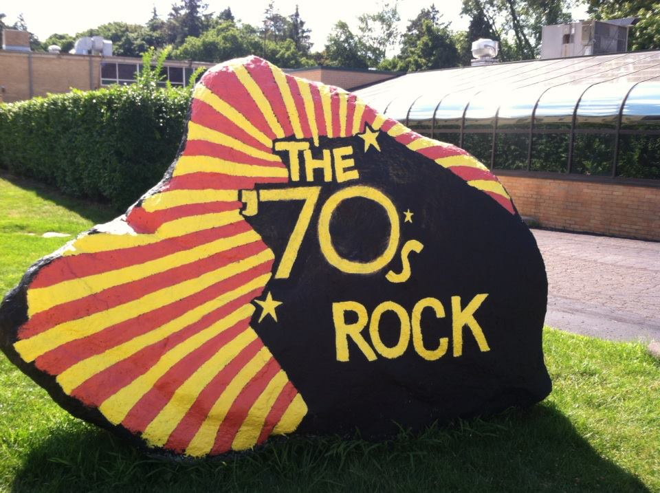 Dean Candace Cain was often asked to paint the rock during her time at RC. One of her favorite renderings was for the 1970s class reunion.