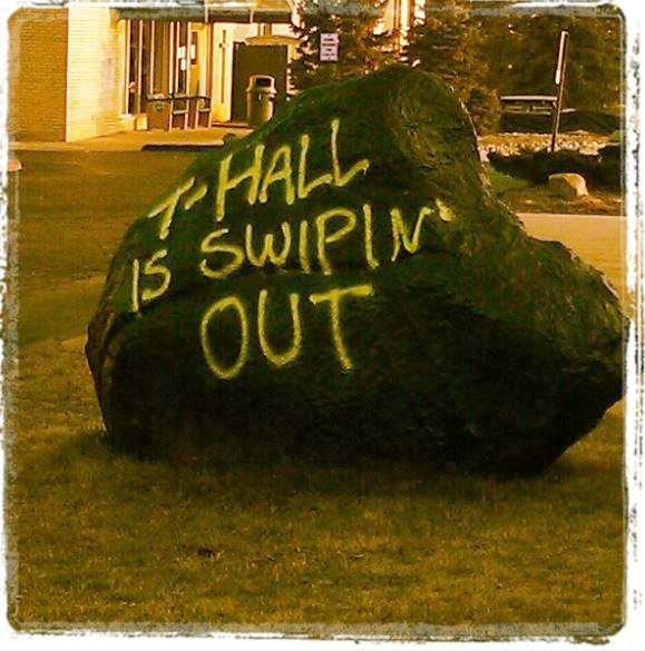 The Rock is tagged to honor former Assistant Dean Terrill Hall on his last day at RC.