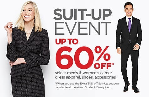 Bring your RU student or teacher ID and receive up to 60% off TODAY from 6-9 p.m. @jcpenney #SuitUp