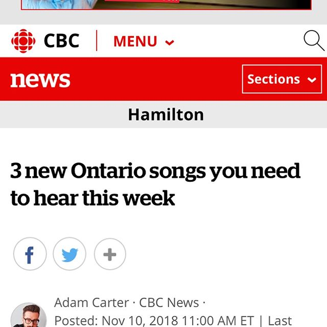 Thank you Adam Carter and @cbc @cbc_music for including 'Baby, I know' in 3 songs you need to hear right now. Also, @moscowaptband are the 💣.