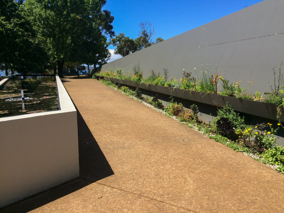 Outdoor ramp access to the garden area / lower level of  Peppermint Bay  restaurant and function centre in Woodbridge.