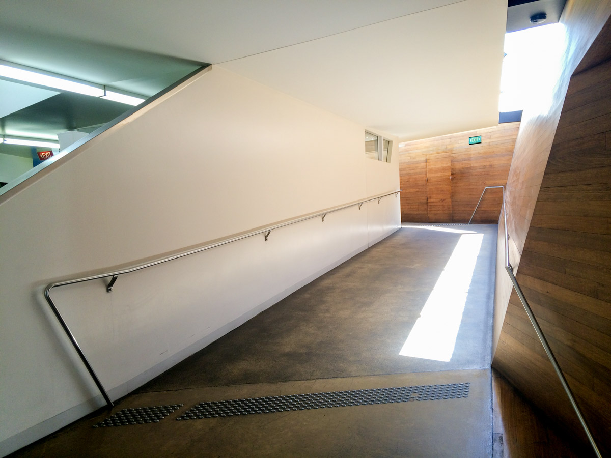 Indoor ramp access to lower level of  Peppermint Bay  restaurant and function centre in Woodbridge.