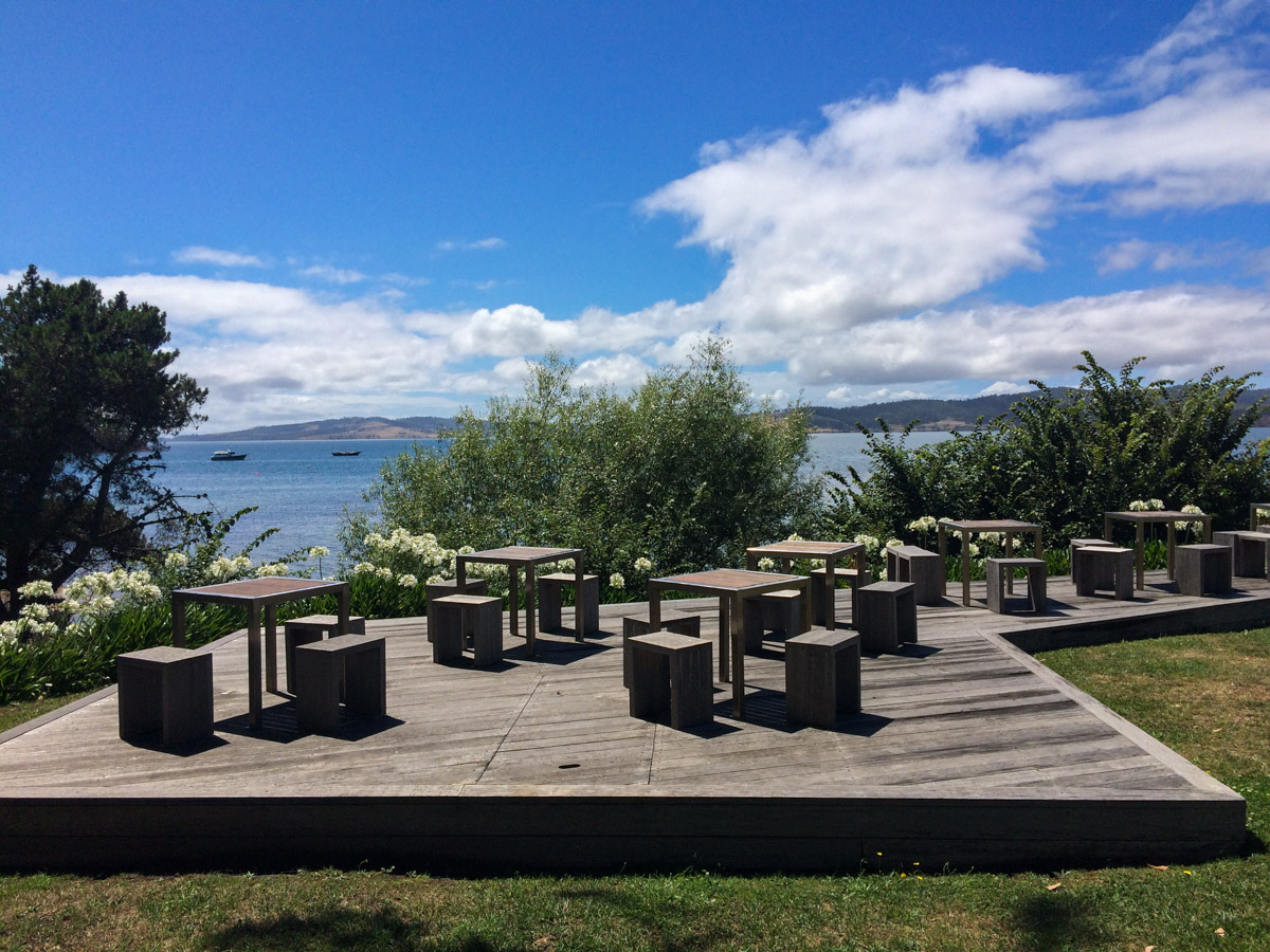 Lovely outdoor seating area - but not for me as there's no ramp -  Peppermint Bay  restaurant and function centre in Woodbridge.