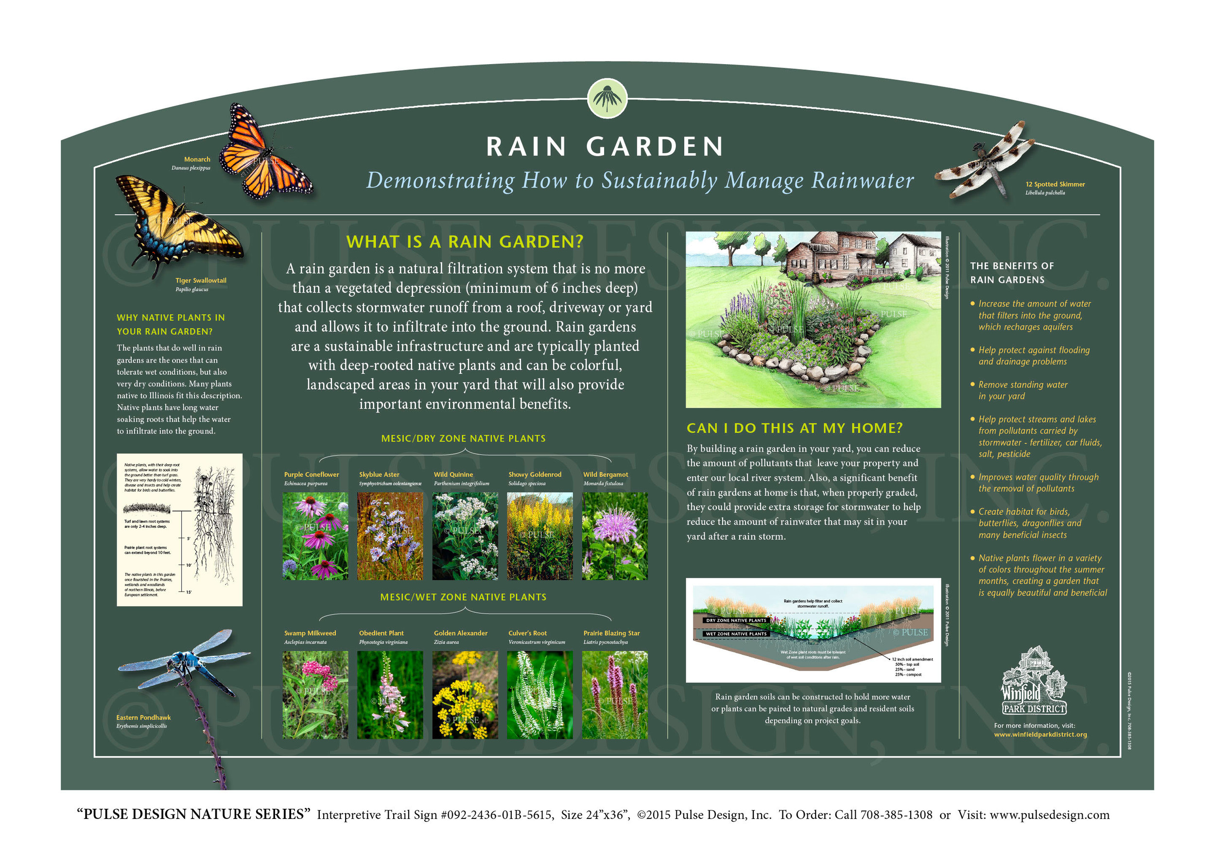 "Pulse Design provides Outdoor Interpretive Nature Trail Signs, Environmental Education Exhibits, Graphic Display Panels, Wayfinding Signage and Monuments, focused on Wildlife and Habitat throughout the United States. The  PULSE DESIGN NATURE SERIES  is a beautiful, ""Ready-to-Order"" and ""Customizable"" series of interpretive trail signs that cover many common nature subjects. See more signs from our  URBAN HABITATS & ENVIRONMENTAL SIGNS SERIES ."