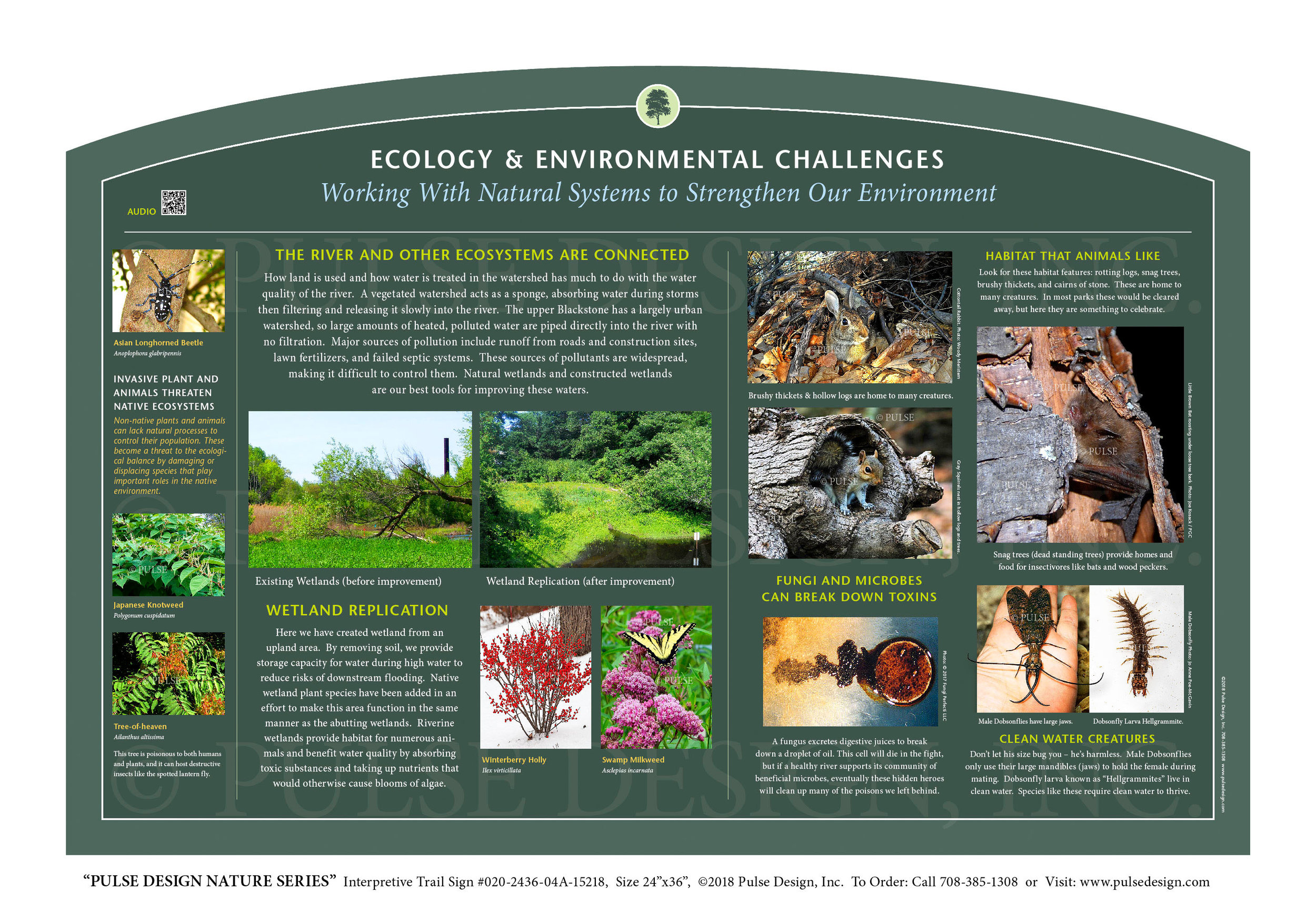"""Pulse Design provides Outdoor Interpretive Nature Trail Signs, Environmental Education Exhibits, Graphic Display Panels,Wayfinding Signage and Monuments, focused on Wildlife and Habitat throughout the United States. The  PULSE DESIGN NATURE SERIES is a beautiful, """"Ready-to-Order"""" and """"Customizable"""" series of interpretive trail signs that cover many common nature subjects. See more signs from our  WATER & WETLAND HABITAT SERIES ."""