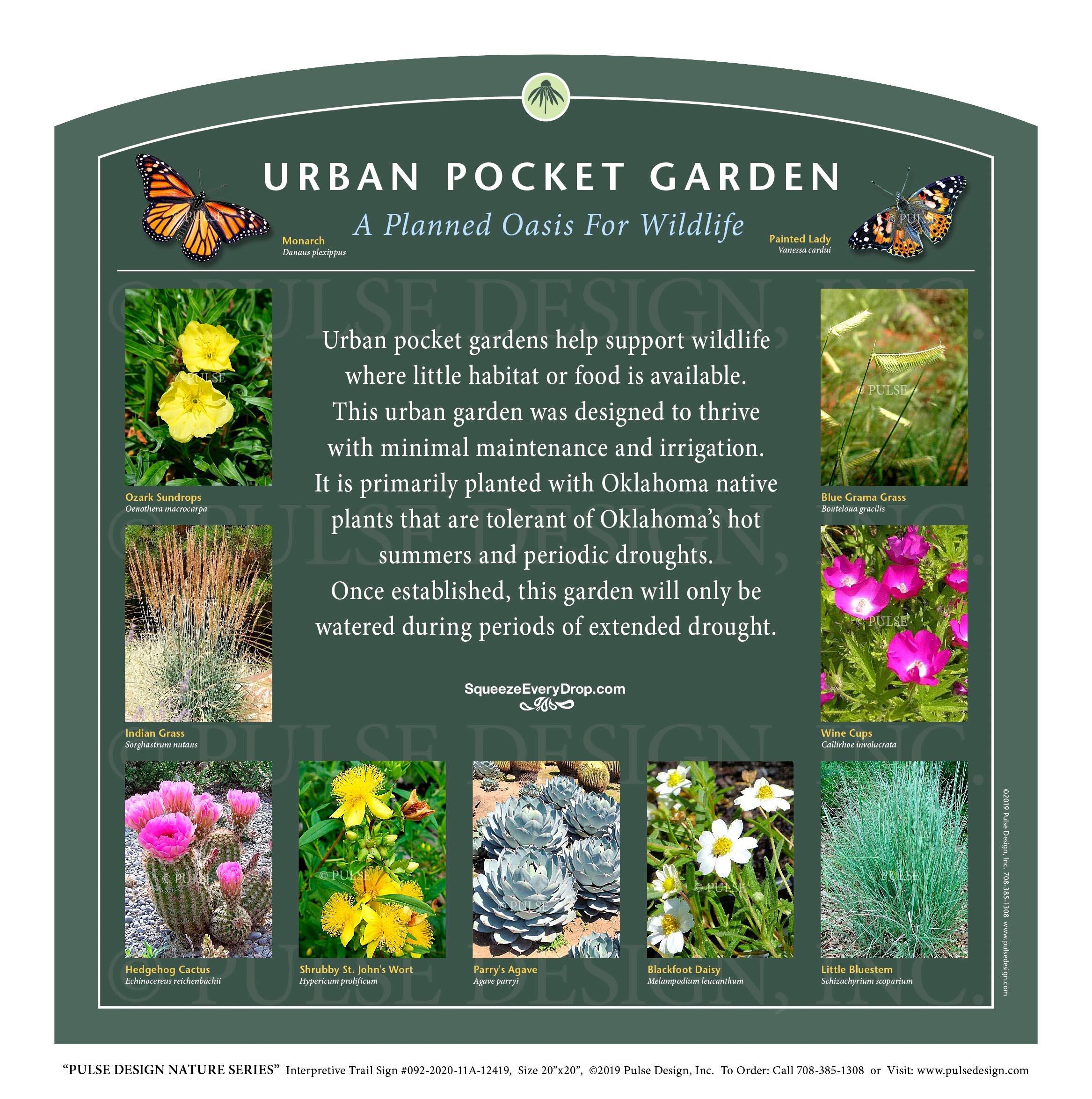 Outdoor Interpretive Sign Urban Pocket Garden Drought Tolerant