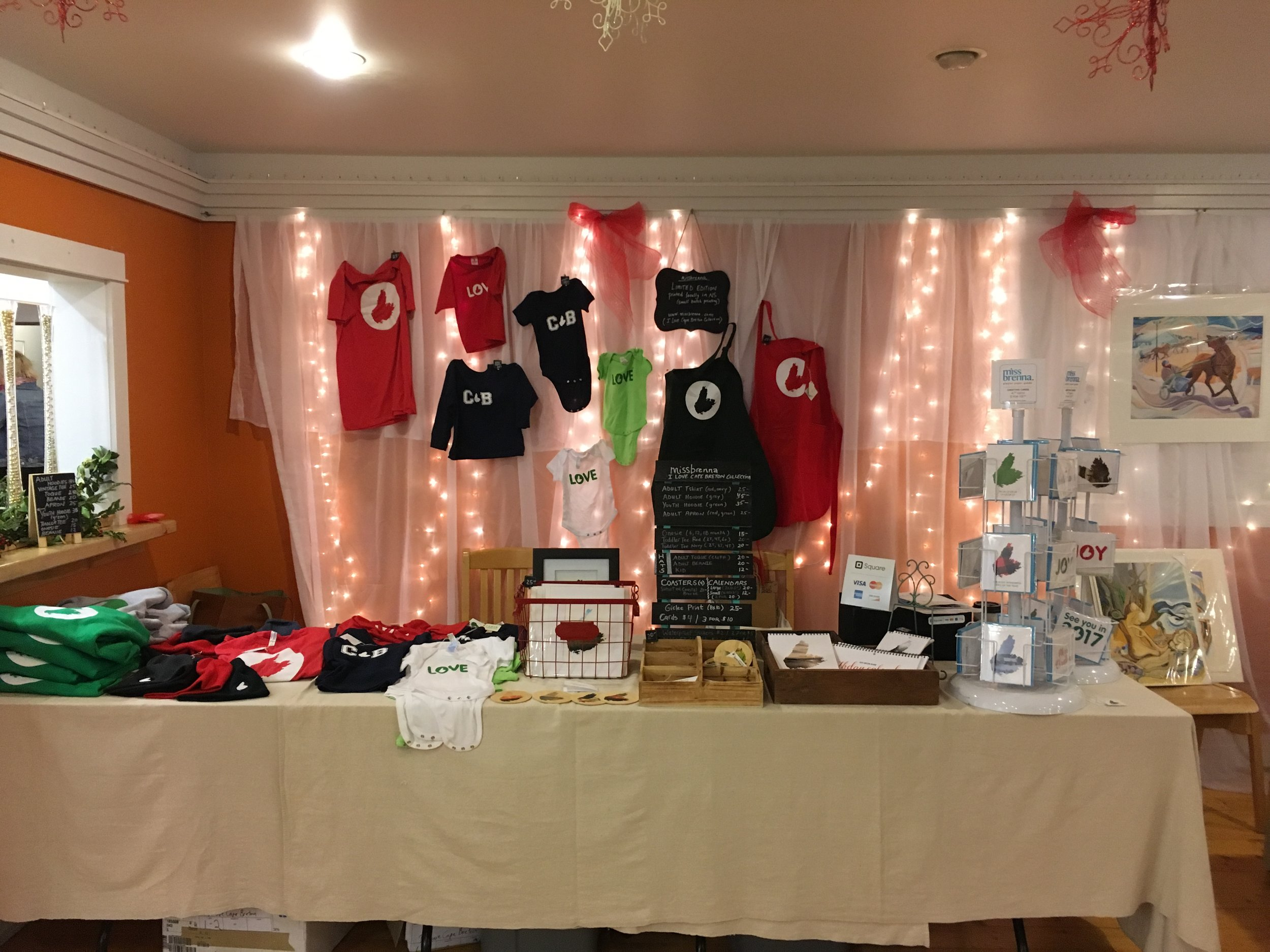 Elves' Fair set up at the Arts Centre, November 27, 2016. I will have all of these items at the Mabou Christmas Market.