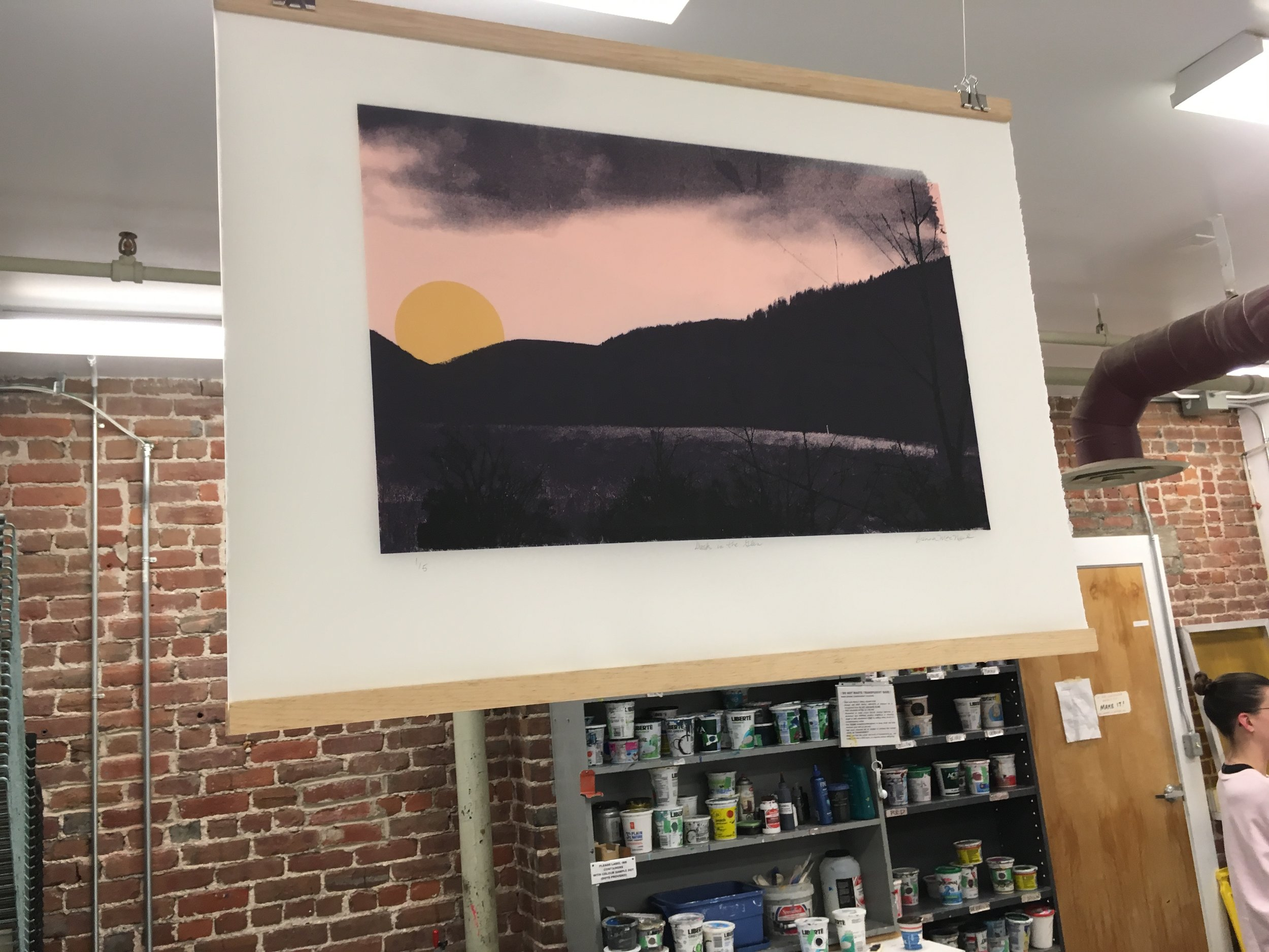 "Title: Dusk in the Glen, 30"" x 22"", screen print on frosted mylar"