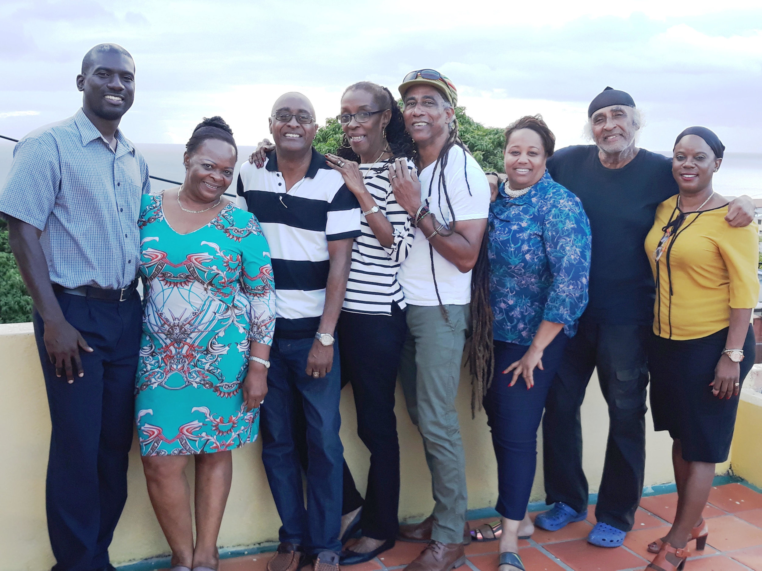 A close-knit family of tent managers and organisers (l tor) Tristan Layne the new Cultural Officer Music at the NCF, Eleanor Rice, Winston Alleyne, Merle Niles, Adisa 'Aja' Andwele the NCF Producer for Pic-O-De-Crop, Sharon Carew-White, Gilbert Roberts and Juliana Sealy.