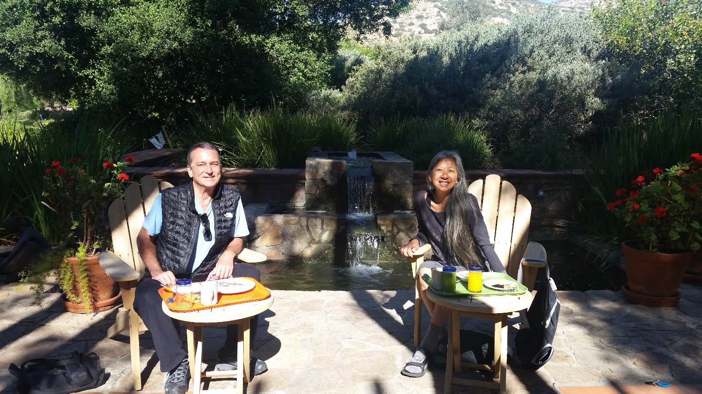 Beautiful organic breakfast on the patio