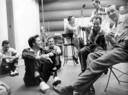 "Elvis Presley, recording ""Hound Dog"" and ""Don't Be Cruel"", 1956"
