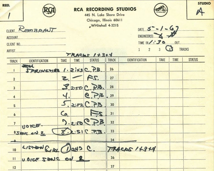 Recording Track List (1967), Chicago