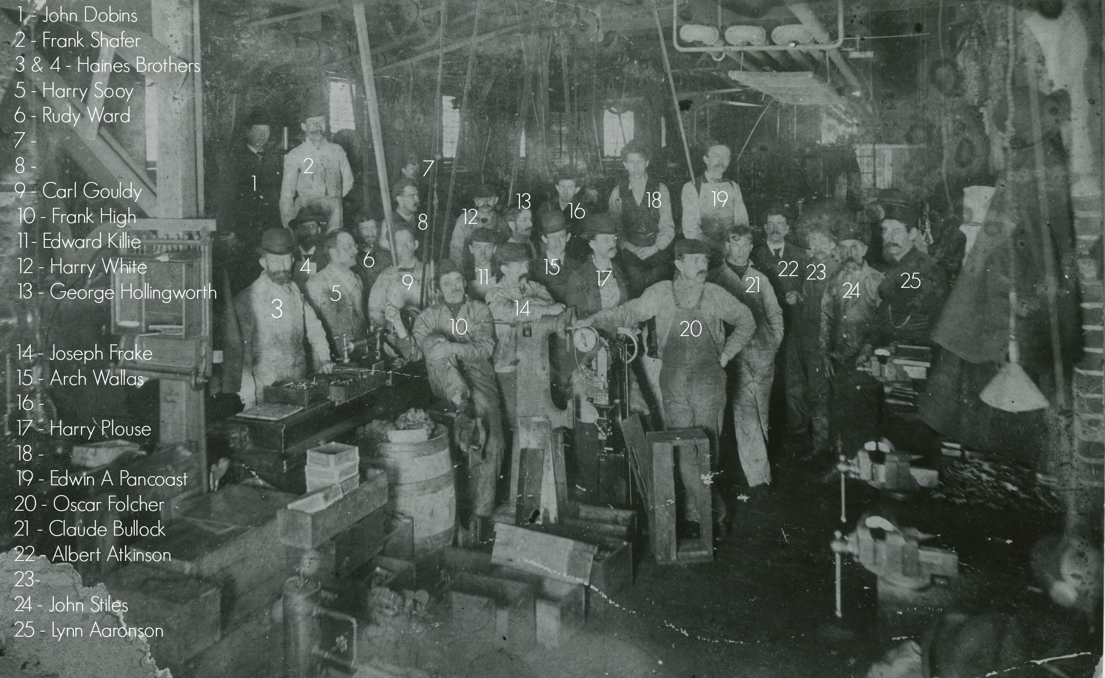 The interior of Eldridge Johnson's workshop, ca. 1900-1901