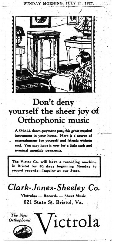 An advertisement for Victor's Bristol Sessions, which produced the first recorded country music and the influential Jimmie Rodgers and the Carter Family