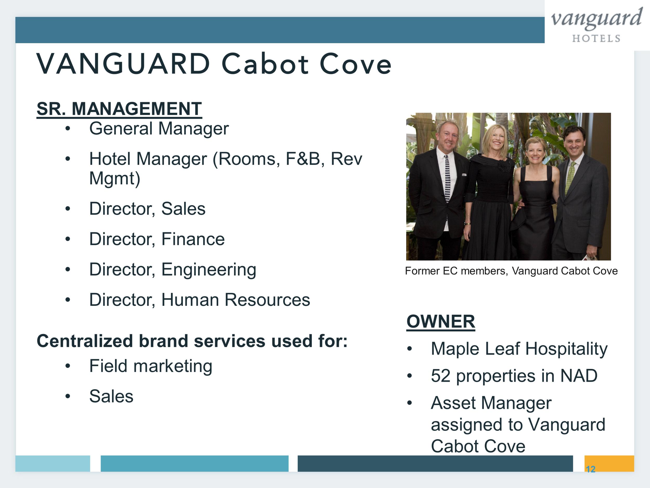 Vanguard Cabot Cove Management Roles