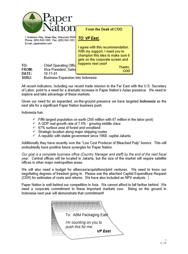 Sample memo from Paper Nation