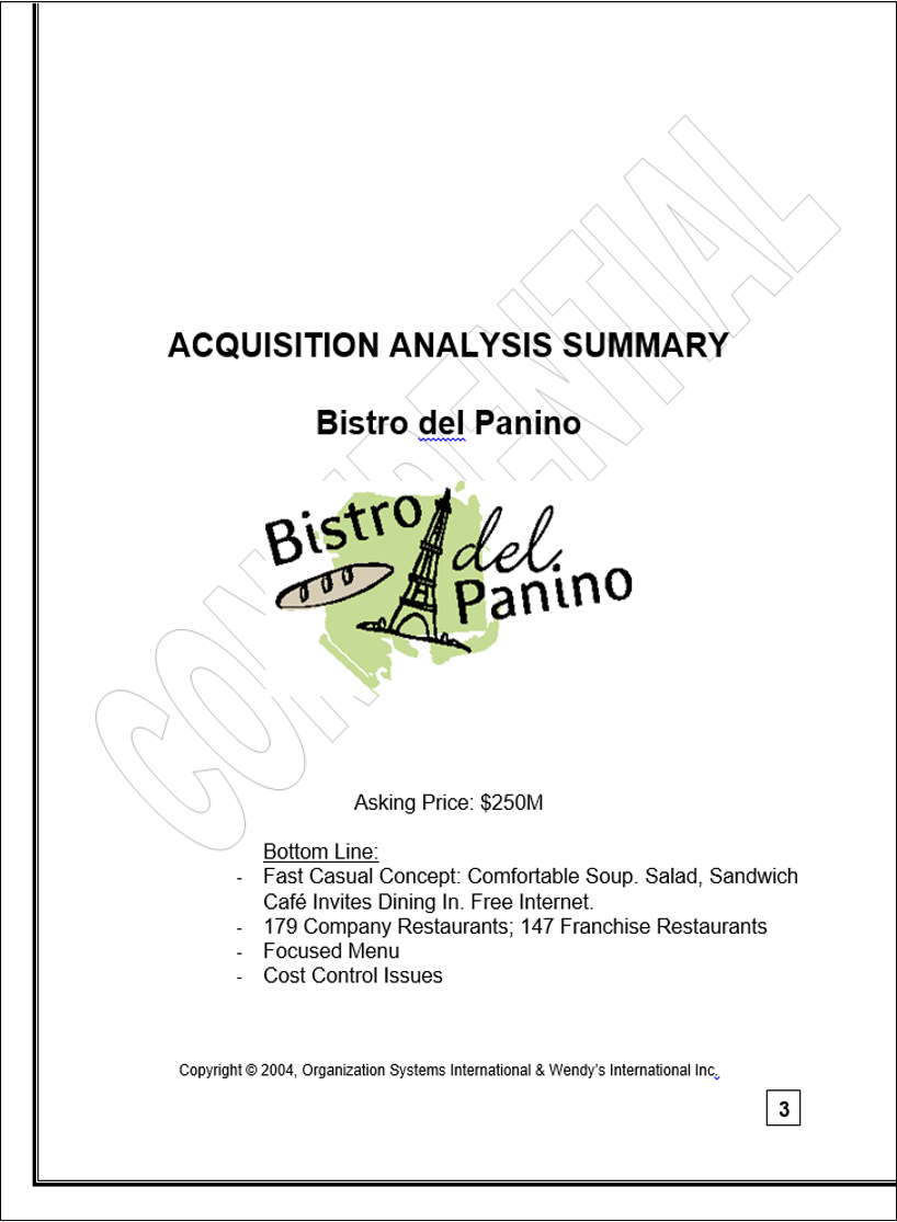 Sample ChickenWorks memo: Acquisition Analysis