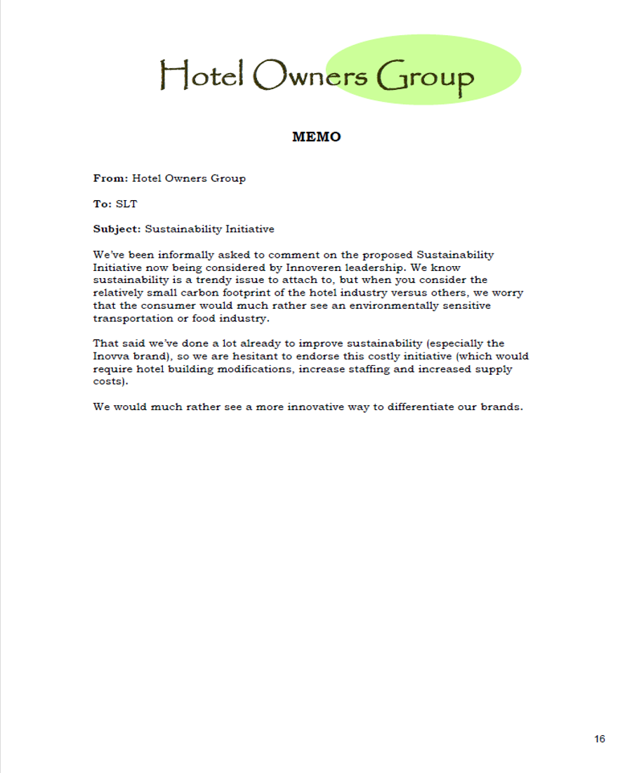 Sample Innoveren Memo: Hotel Owners GRoup Pushes Back on Sustainability Initiative