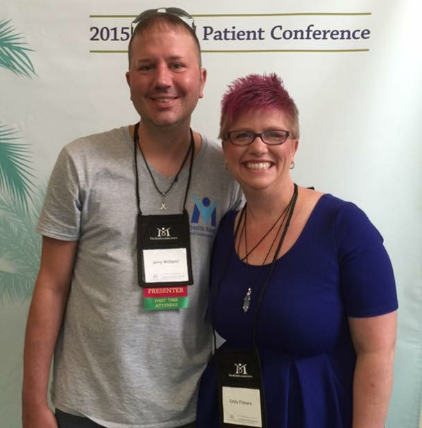Emily with Jerry Williams, President and Founder of Myositis Support and Understanding Association at The Myositis Association's Annual Patient Conference.