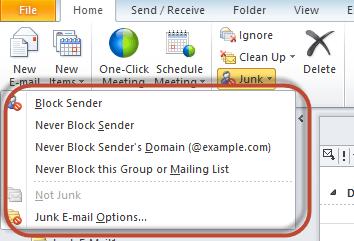 Outlook Junk Filter Image 2