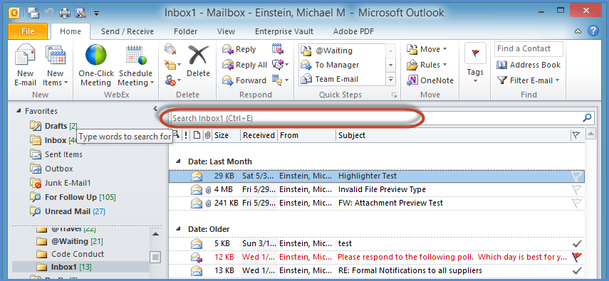 Outlook Search Tools Screenshot1